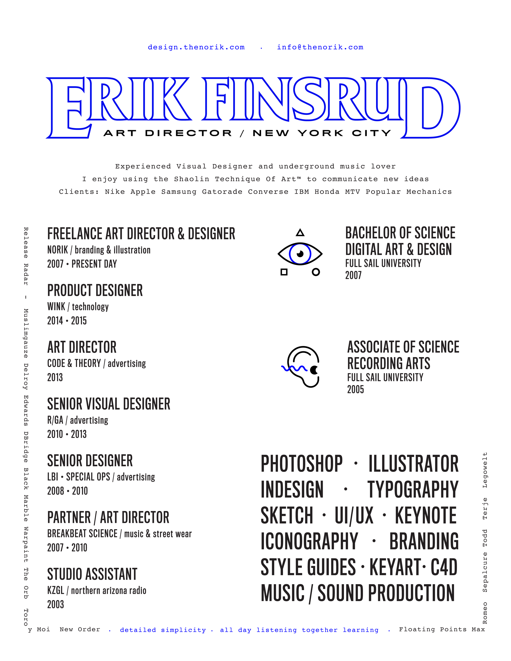 portfolio resume of erik finsrud art director the norik