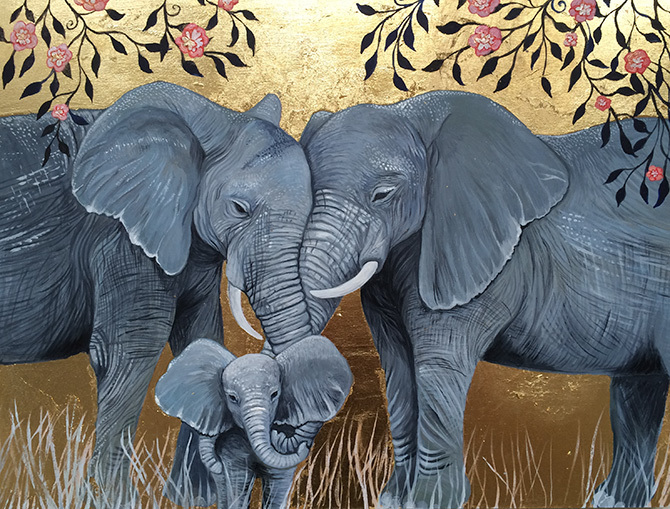 Elephant family painting - photo#7